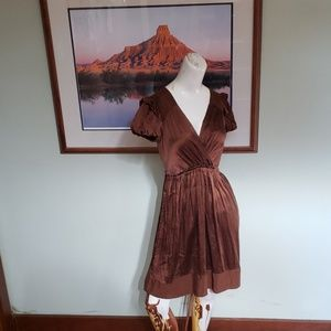 BCBG Maxazria brown silk dress Size 2